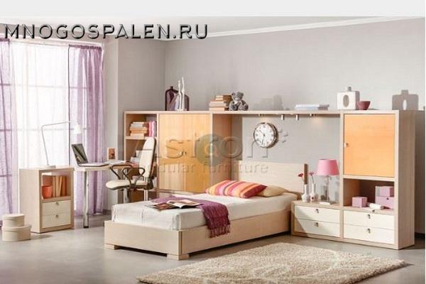 Мебель для девочки T104 Астрон купить в салоне-студии мебели Барселона mnogospalen.ru много спален мебель Италии классические современные